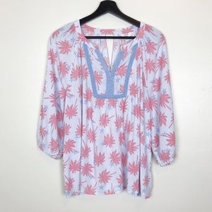 Crown & Ivy Periwinkle Pink Palm Tree Star Blouse